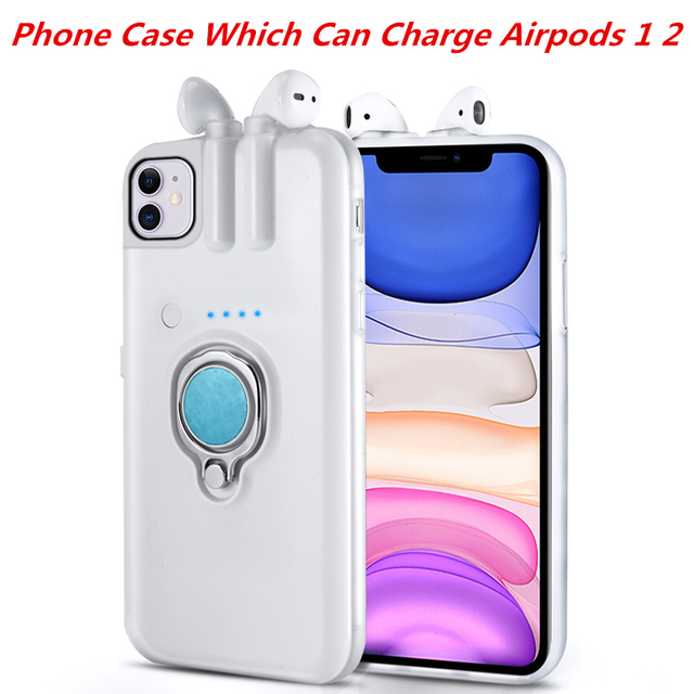 For iPhone 11 Pro Max Xs Max Xr X 8 7 6 6s Plus Case with AirPods 1 2 Charging Box Earphone Holder Dropshipping Fast delivery