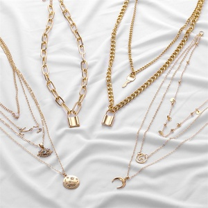 FNIO Boho Multi Layer Lock Pendants Necklaces For Women Long Gold Metal Key Moon Necklace 2020 New Design Fashion Jewelry Gift
