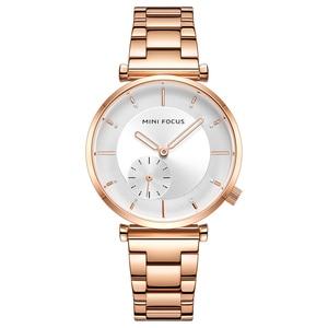 Image 1 - ミニフォーカス女性の腕時計ブランド高級ファッション女性腕時計30メートル防水リロイmujerレロジオfemininoローズゴールドステンレス鋼