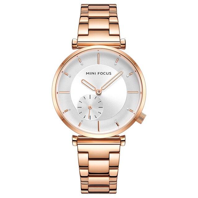 ミニフォーカス女性の腕時計ブランド高級ファッション女性腕時計30メートル防水リロイmujerレロジオfemininoローズゴールドステンレス鋼