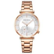 MINI FOCUS 여성 시계 브랜드 럭셔리 패션 숙녀 시계 30M 방수 Reloj Mujer Relogio Feminino 로즈 골드 스테인레스 스틸