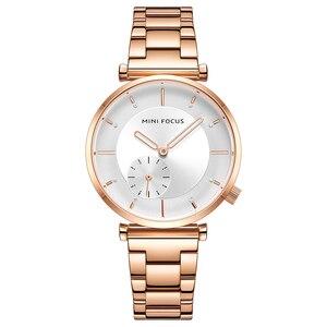 Image 1 - MINI odak kadın saatler marka lüks moda bayan izle 30M su geçirmez Reloj Mujer Relogio Feminino gül altın paslanmaz çelik