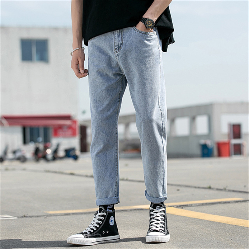 Straight Jeans Men 2019 Korean Version Of The New Loose Casual Cropped Pants Loose And Comfortable Trend