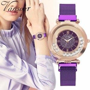 Image 1 - ホットファッション女性マグネットバックルフルダイヤモンドの腕時計高級レディースステンレス鋼クォーツラインストーン腕時計時計レロジオ Feminino