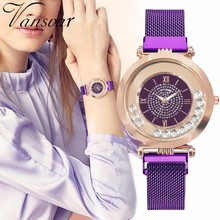 Hot Fashion Women Magnet Buckle Full Diamond Watch Luxury Ladies Stainless Steel Quartz Rhinestone Watch Clock Relogio Feminino