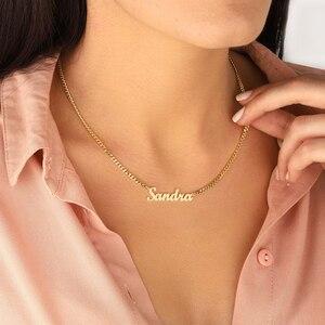 Персонализированные Свадебные подарки заказное имя ожерелье из нержавеющей стали Снаряженная Цепь ожерелье индивидуальная именная табли...