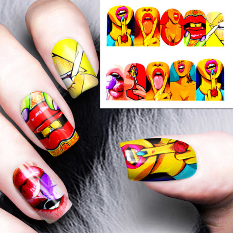 Art Design Applique European And American Punk Style Diy Water Transfer Nail Art Stickers Cool Lips Decoration Full Wrapp Aliexpress