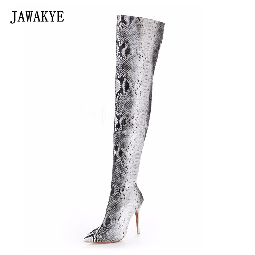 Snakeskin Women Boots New Fashion Pointed Toe High Heels Over The Knee Boots Sexy Snake Pumps Lady Side Zipper Long Boots Сникеры