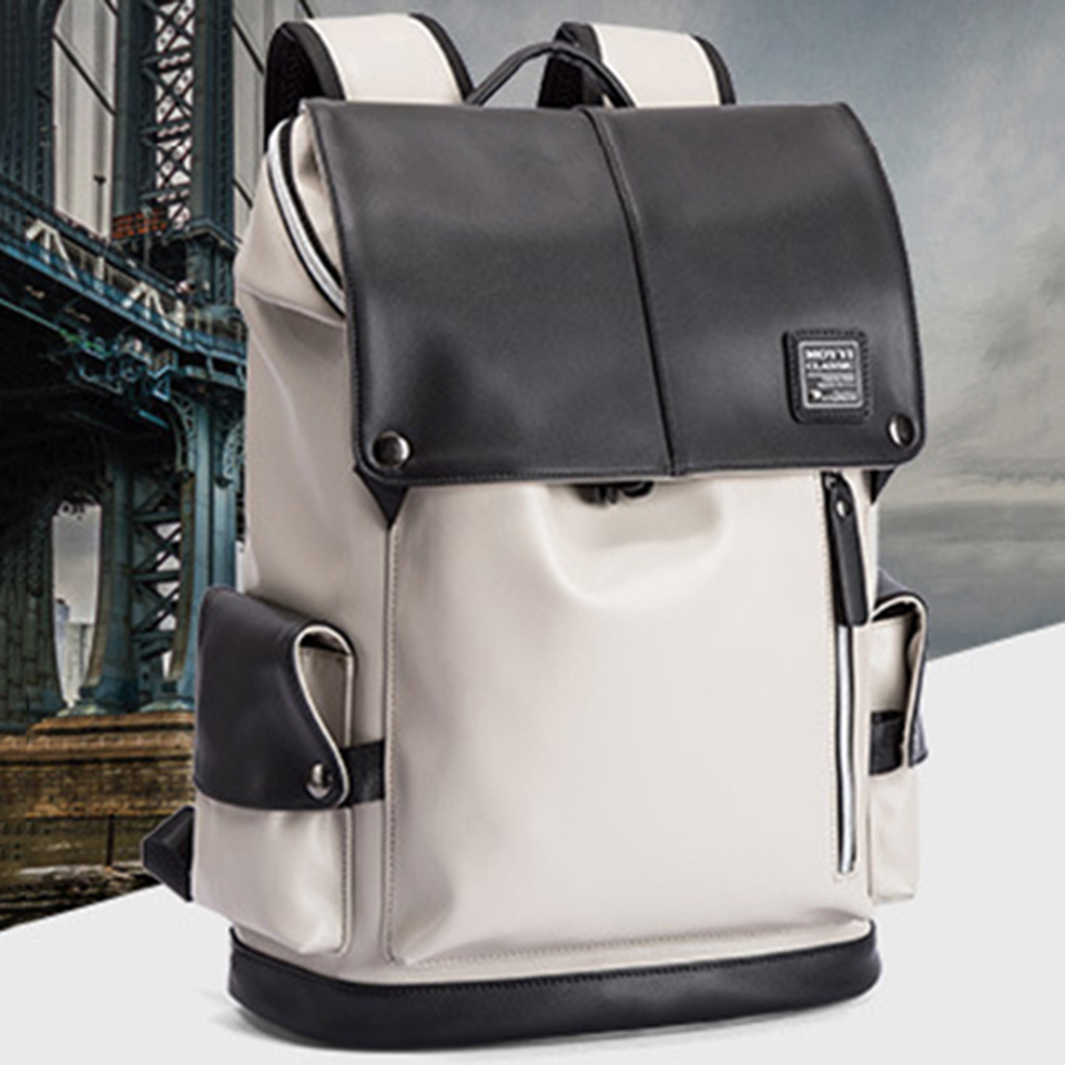 Women Bagpack Men Male Fashion Leather Backpack PU Laptop Waterproof 15.6 Inch School Bags Pack USB Charging Female Travel Bag