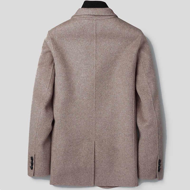 Wełniany płaszcz mężczyźni kurtka jesienno-jesienna płaszcz czarny marynarka męskie płaszcze i kurtki koreański Abrigos Hombre XY-188802 KJ2249