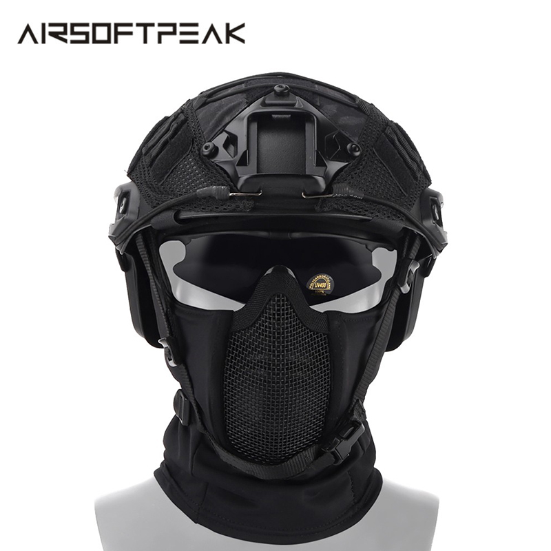 Tactical Mask Balaclava Mesh Full Face Mask Hunting Headgear Airsoft Paintball Protective Military Breathable CS Masks Outdoor