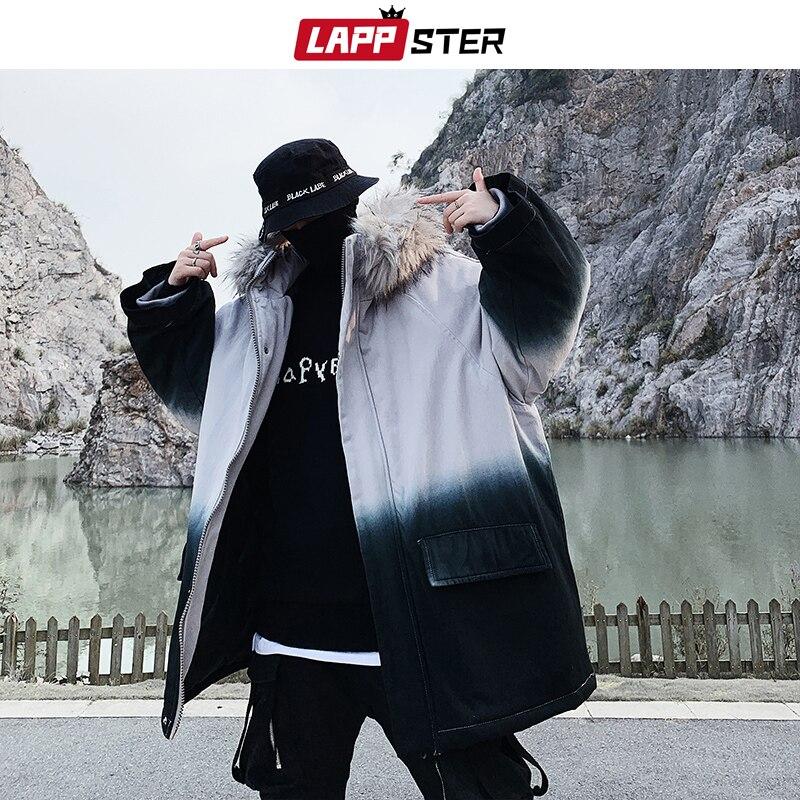 LAPPSTER épais hiver veste hommes Streetwear à capuche Parka manteau de fourrure 2019 homme Harajuku japonais Streetwear cravate colorant veste grande taille
