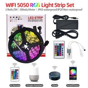 Tira de luces LED 5050RGB con WiFi inteligente en siete colores, tira de luces a prueba de agua, paquete con Control por voz y aplicación para teléfono móvil