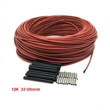 100 metros 33 ohm/m 3 mm atualizar revestimento de borracha de silicone fibra carbono aquecimento fio quente piso cabo