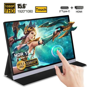 Портативный монитор с сенсорным экраном 15,6 дюйма, IPS-экран, USB Type C, HDMI-дисплей для PS4, Switch, XBOX, Samsung, Huawei, с умным чехлом 1080