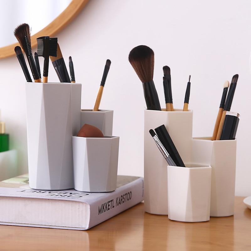 3 Lattices Makeup Organizer Makeup Brush Cosmetic Storage Box Nail Polish Eyebrow Pencil Beauty Egg Cosmetics Organizer Holder