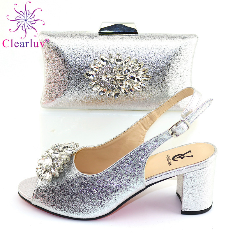 Hot Selling Nigerian Design Italian Women Shoes And Bag Set High Quality Nigerian Lady Shoes Matching Bag With Crystal