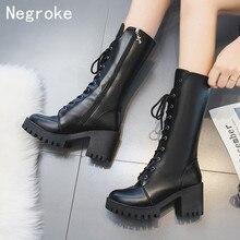 Trendy Women Mid-Calf Boots Black Leather Block High Heel Autumn Winter Platform Snow Boots Shoes Woman Botas Zapatos Mujer 2020 все цены