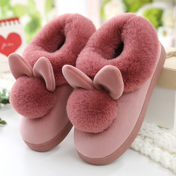 Winter Fur Slippers For Teens Girls Boys House Shoes With Pompon Parent Child Furry Slippers With Ears Big Kids Plush Shoes faux fur overlay slippers with rabbit ears
