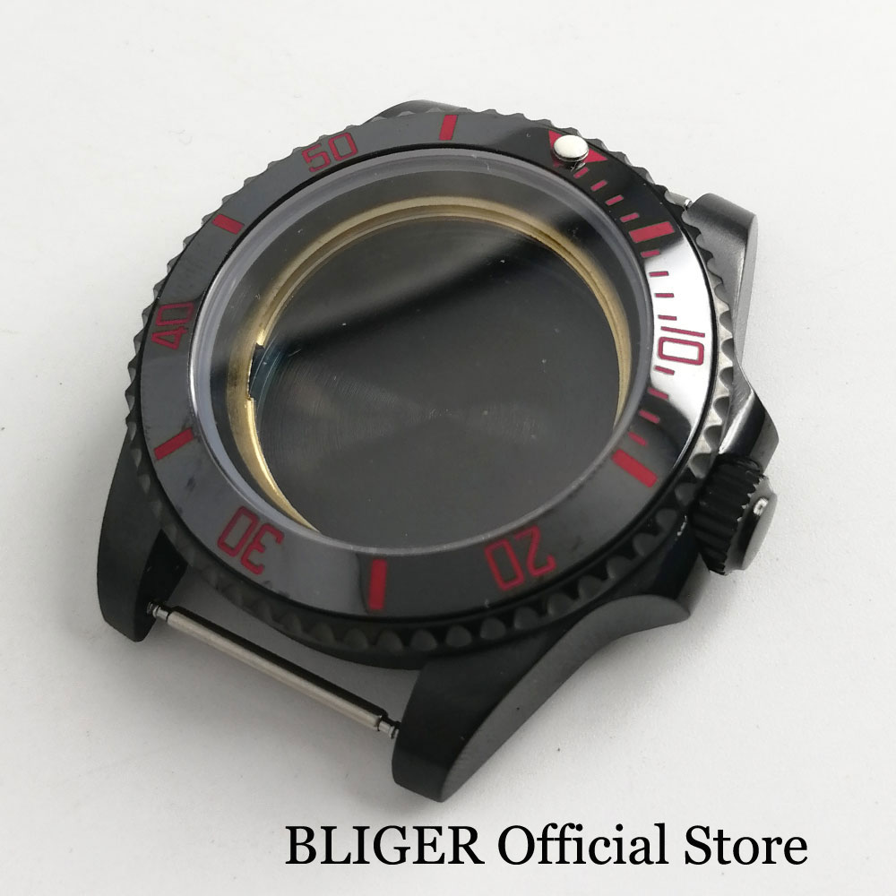 BLIGER 40MM Black PVD Coated Watch Case Without Cyclops With Ceramic Bezel Sapphire Glass Fit ETA2836 MIYOTA Movement