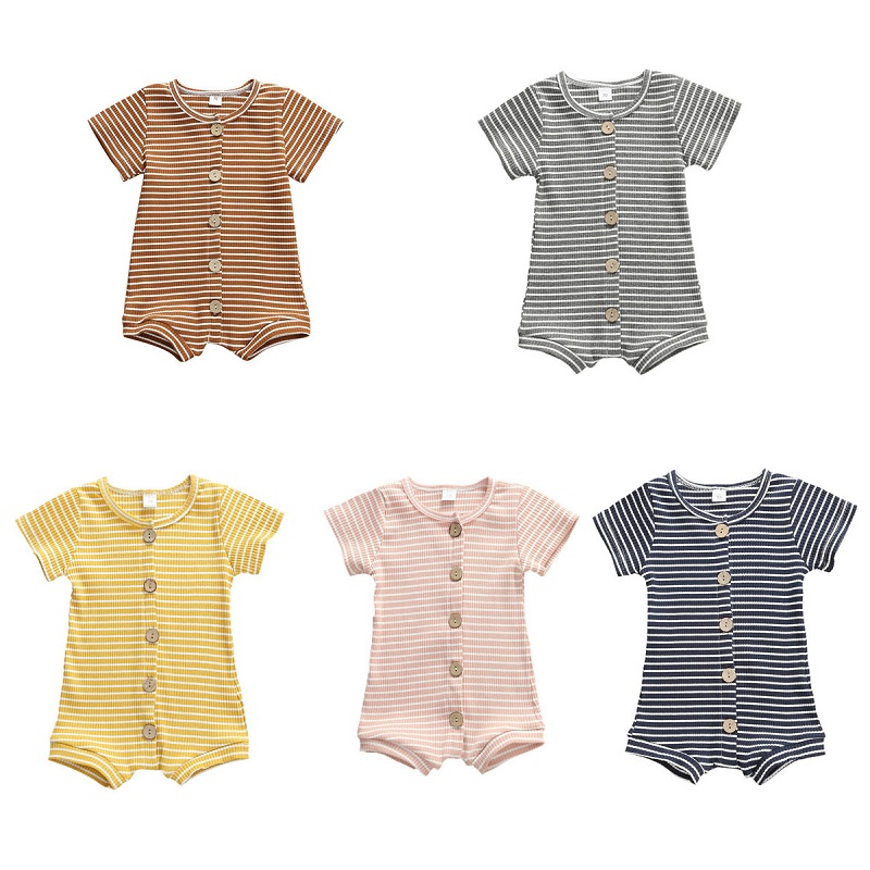 0-12M New Arrival Newborn Toddler Baby Girls Boys Rompers Striped Cotton Shorts Sleeve Single Breasted Jumpsuits 5 Colors