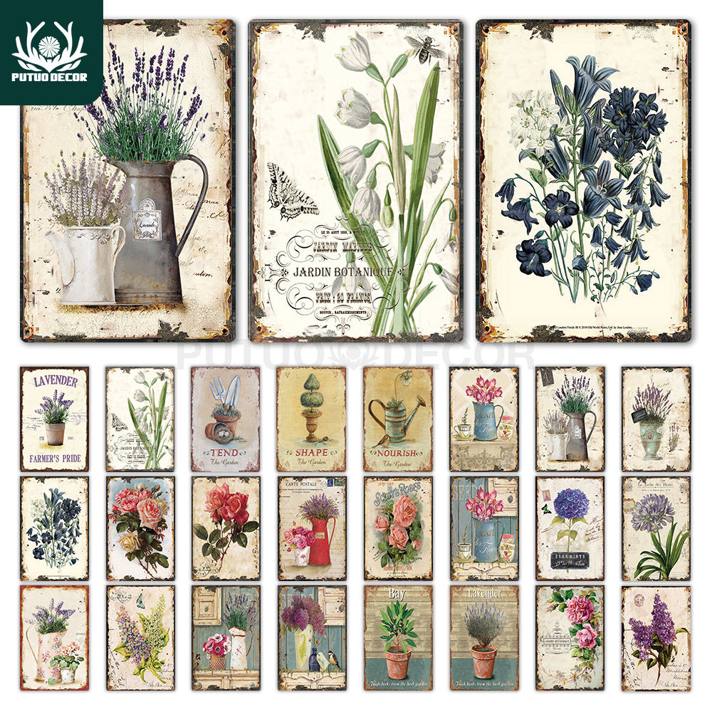 Flower Vintage Tin Sign Home Decor Retro Metal Sign Shabby Chic Wall Decor for Kitchen Living Room Dining Room Metal Plate(China)