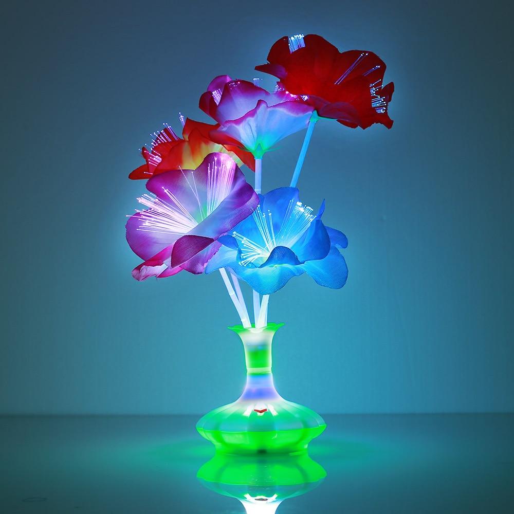 Beautiful Fiber Flower Light Kapok Vase Bouquet Plastic Fiber LED Lamp Room Christmas Colorful Home Blossom Valentine'S Day