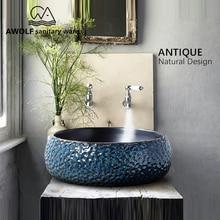 아트 욕실 싱크 씻어 분지 그릇 460*460*150mm 라운드 고대의 방법을 복원 세라믹 선박 골동품 lavatary 싱크 am863
