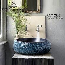 Arte fregadero de baño, cuenco para lavabo, 460x460x150mm, redondo, restauración de antiguas formas, recipiente de cerámica, lavabo antiguo AM863