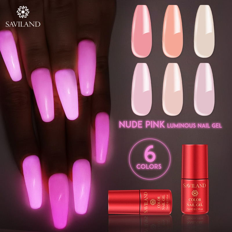 SAVILAND Nude Pink Gel Polish Glow In Dark 7ML Luminous UV Gel Hybrid Varnishes DIY Soak Off Semi Permanent For Nails Design