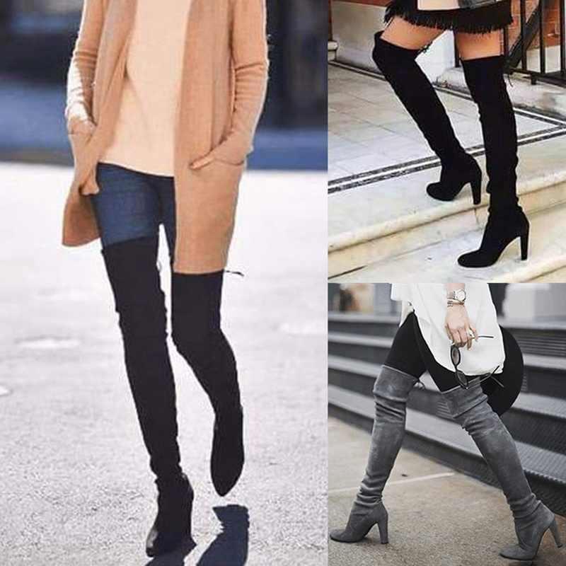 אופנה נעלי נשים של מעל הברך למתוח פלוק מגפיים להחליק על עקב נוח גבירותיי נעלי 2019 סתיו חורף מגפיים