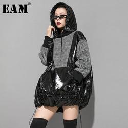 [EAM] Loose Fit Plaid Oversized Cotton-padded Sweatshirt New Hooded Long Sleeve Women Big Size Fashion Spring Autumn 2020 1K447
