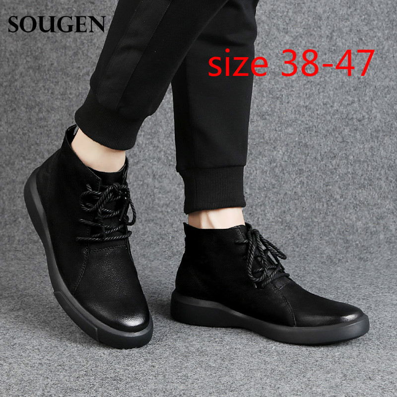 New Winter Summer Shoes Big Size 47  Men Boots Army Waterproofs High Grade Suede Leather Erkek Bot Ankle Boots Black Footwear