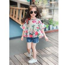 Коллекция года, летняя одежда новая стильная тонкая хлопковая футболка с короткими рукавами для девочек в европейском и американском стиле, в стиле ретро, с цветком, с чернильными трубками, для девочек