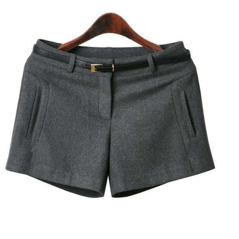 Autumn Winter Woolen Shorts Women Hiigh Waist Casual Shorts For Girls All-Match Plus Size Solid Shorts Women's J428