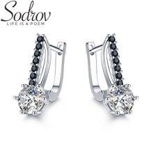 SODROV милые 925 пробы серебряные серьги-кольца ювелирные изделия для женщин Букле д 'ореиль Femme Bijoux I119