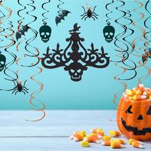 20pcs Halloween Party Hanging Swirl Ceiling Decorations Foil Bats Spider Skull Chandelier Lantern Spooky Fall Decor