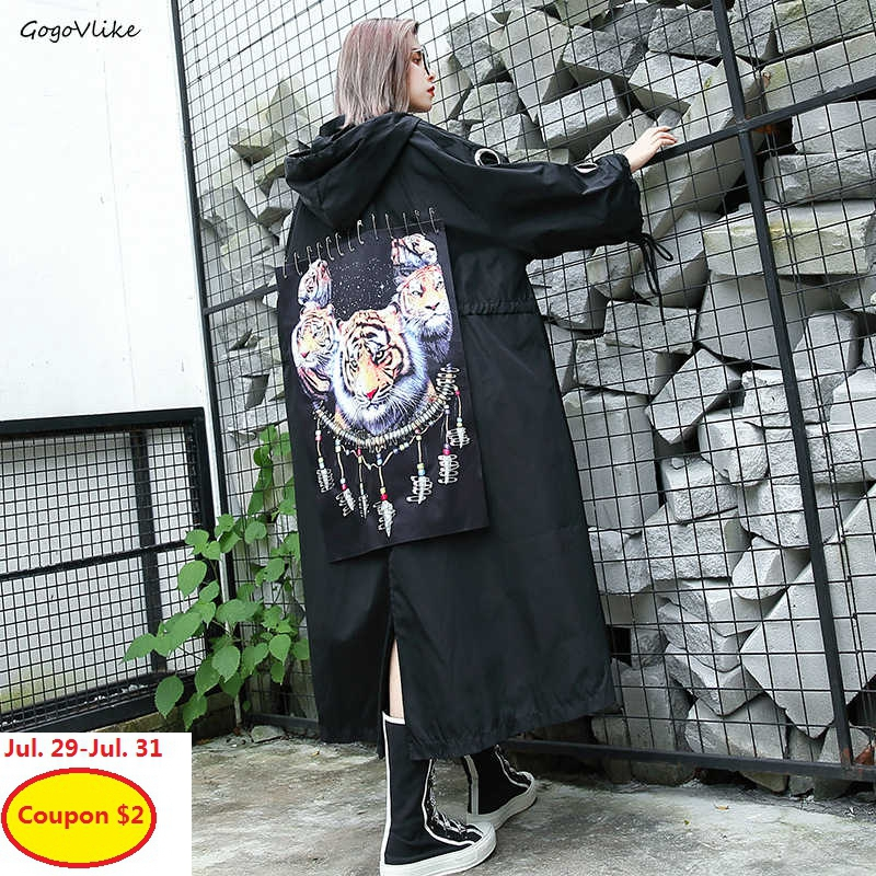 2019 New Spring Tiger Patch Trench Coat Hooded Straps Women Black Long Casual Design Ribbons Windbreaker