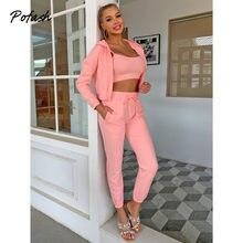 Pofash розовый комплект из 3 предметов с капюшоном, женский укороченный Топ с длинным рукавом и галстуком, с курткой и брюками, карманы на молни...