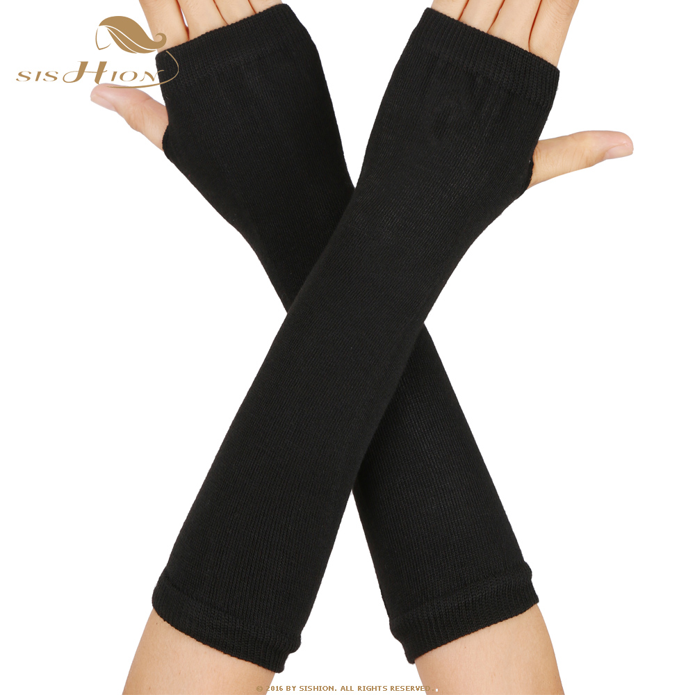 SISHION 1 Pair Autumn Winter Women Knit Gloves Arm Wrist Sleeve Warmer Girls Rhombus Long Half Winter Mittens SP0527