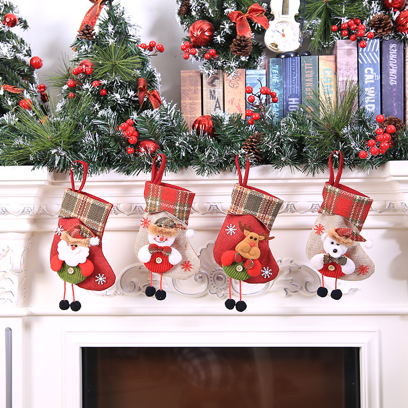New Christmas Stockings Mini Sox Santa Claus Elk Snow Bear Cloth 20*10CM Candy-Bag Gifts Tree Hanging Decor