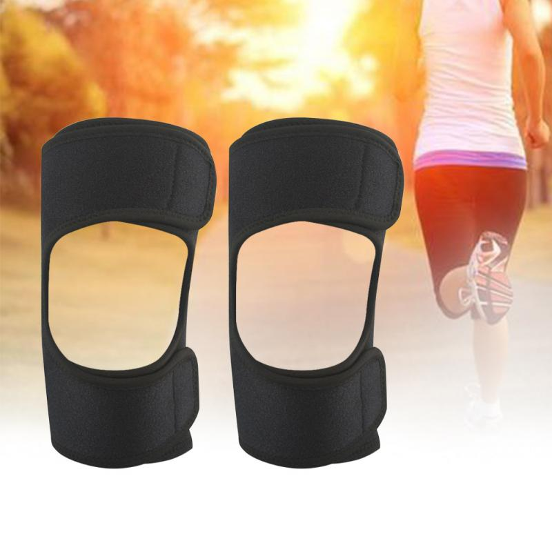 1Pair Knee Pad Cover Joint Gym Adjustable Support Knee Care Booster Tibial Strong Spring Resilience Dlastic Knee Cap Kneelet