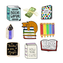 Witch Magic Books Brooch Cute Heart Reading PLANNER ADDICT Magic Crystal Painting Pencil Flower Ribbon Enamel Pin Reader Gifts(China)