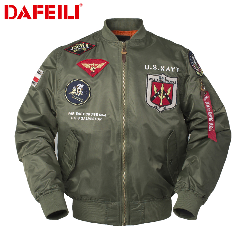 Mens Pilot Quilted Bomber Jacket War Aviator Flying Air Force Top Gun MA1
