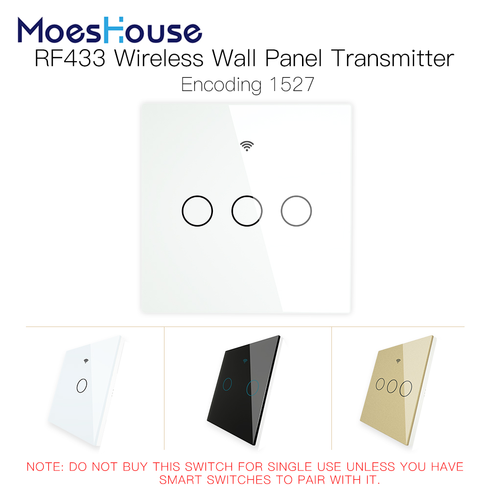 RF433 MHz Wireless Wall Glass Panel Transmitter Switch Remote Controller Work with WiFi Smart Control Sticky Switch Receiver
