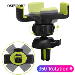 OSEVPORF Universal Car Phone Holder Stand Air Vent Mount Clip Holder 360 Degreen For Phone Support 4-6 inch Holder Stand in Car