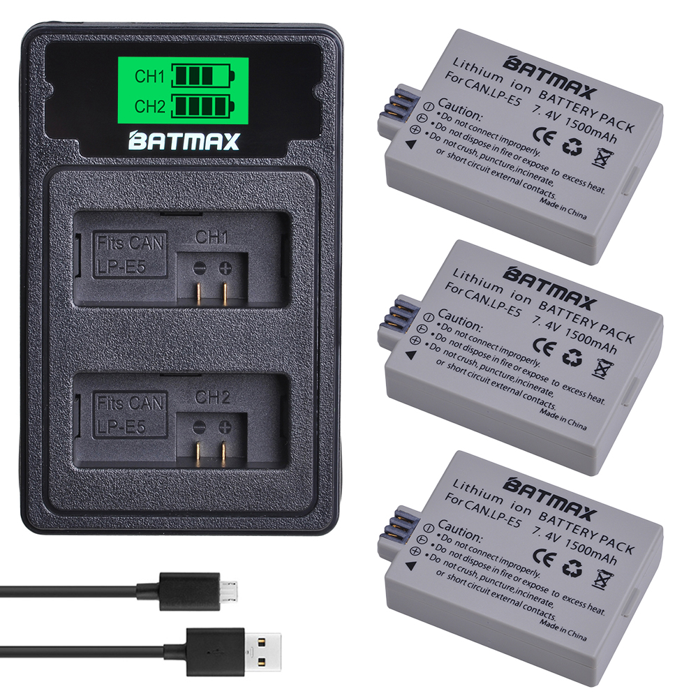 Batmax LP-E5 Camera Battery+LCD Dual Charger With Type C Port For Canon  450D 500D 1000D Kiss X2 X3 F Rebel XSi Xli XS L15