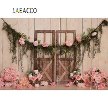 Pink Backdrops Flower Floral Old Wooden Door Wall Birthday Party Baby Newborn Photographic Backgrounds Photocall Photo Studio