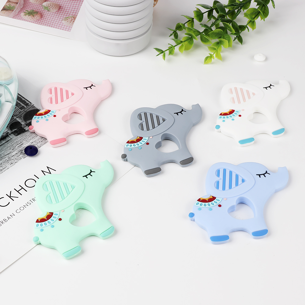 TYRY.HU 10PC Elephant Silicone Teethers Teething Baby Pendant DIY Pacifier Chian Clips Toy Food Grade Silicone Baby Teether