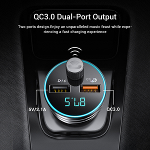 Image 3 - TOPK Car Charger for iPhone Mobile Phone Handsfree FM Transmitter Bluetooth Car Kit LCD MP3 Player Dual USB Car Phone Charger